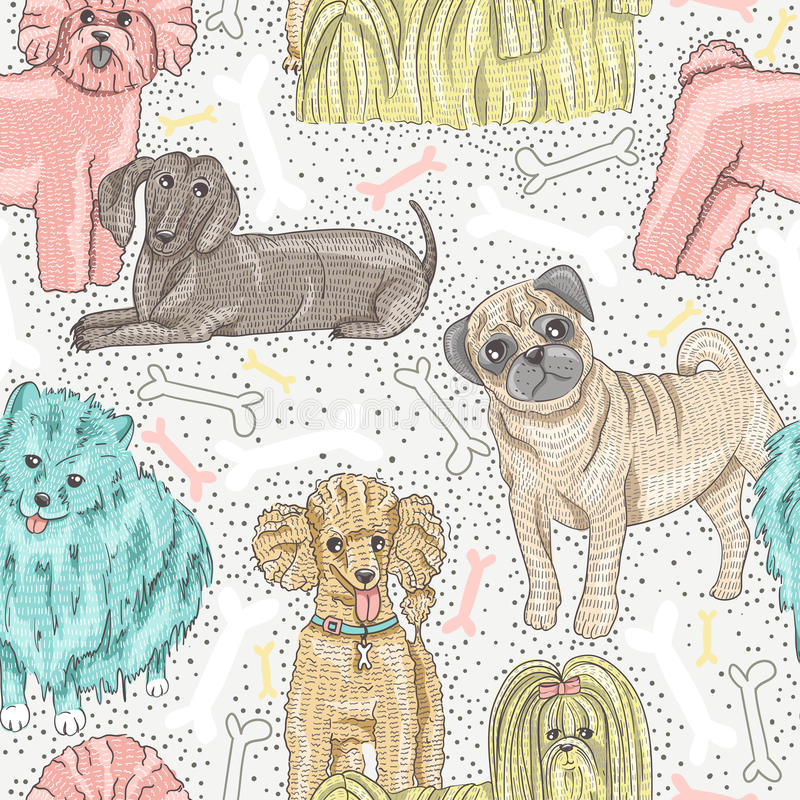 Cute seamless vector pattern with dogs stock illustration