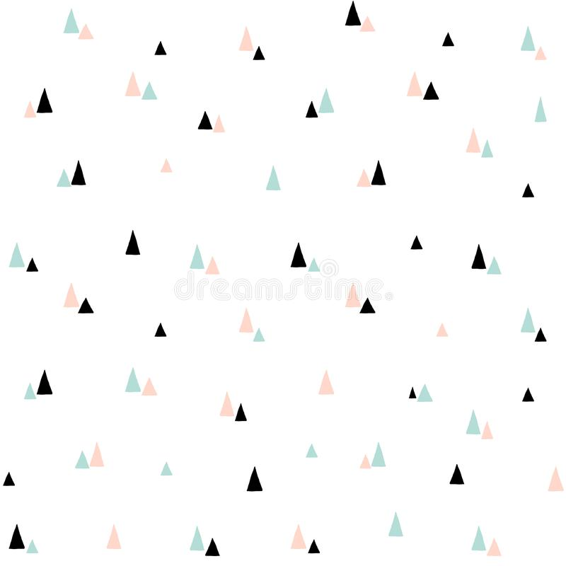 Cute seamless vector pattern. Minimal scandinavian style background with stylized Christmas trees. For kids textile stock illustration