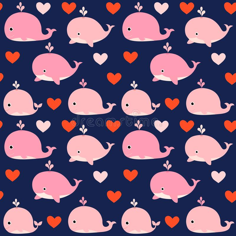 Cute seamless vector pattern with pink whales royalty free illustration