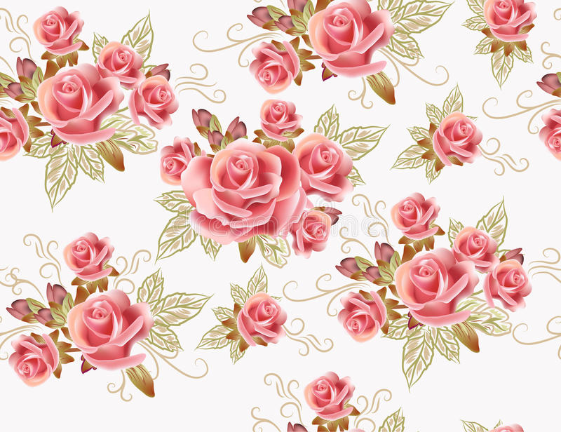 Download Cute Seamless Wallpaper Design With Rose Flowers Stock Vector