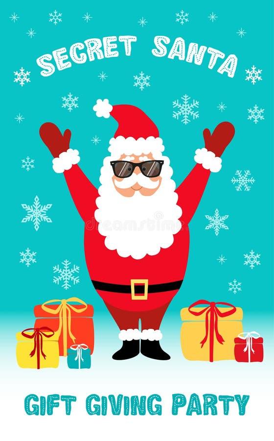 Cute Cartoon Secret Santa Party flyer royalty free illustration