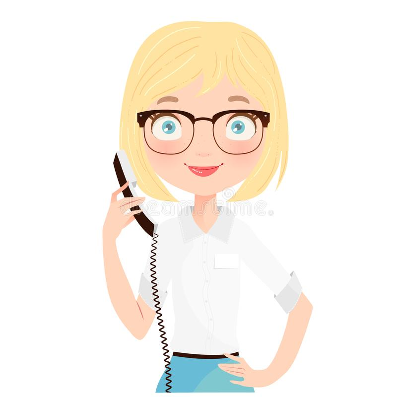 Cute Blonde Receptionist holding a phone royalty free stock photos