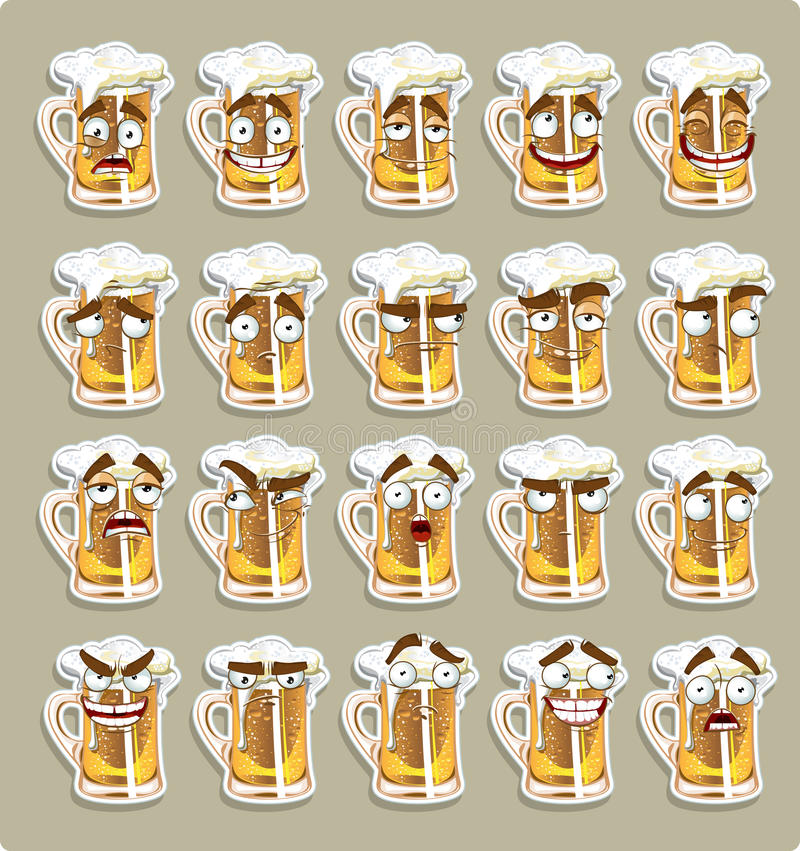 Cute series of smiles beer stickers vector illustration