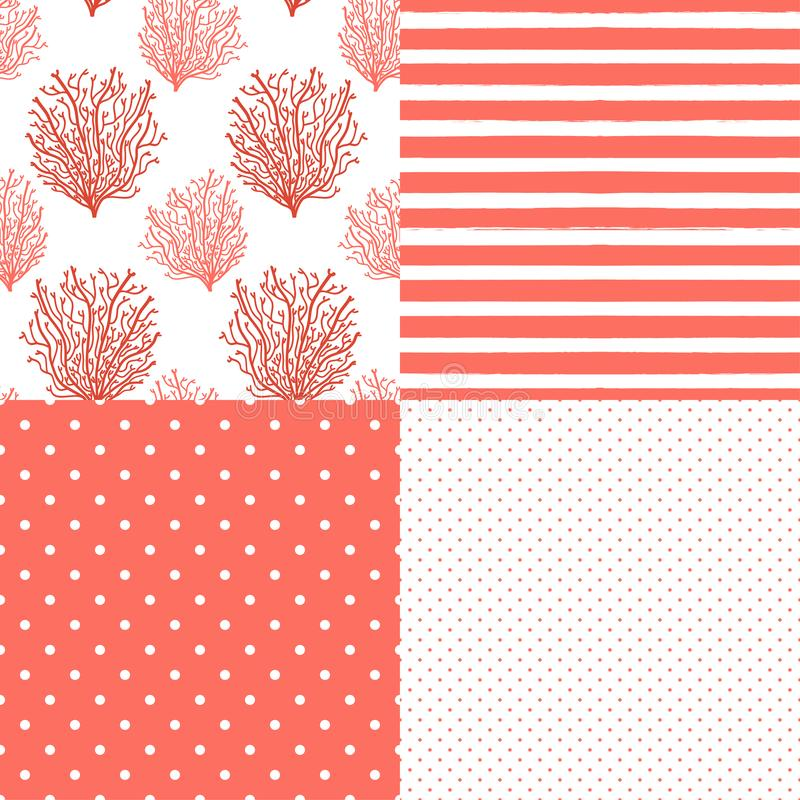 Cute set of abstract seamless patterns in Trendy Living Coral 2019 Colors. For your decoration stock illustration