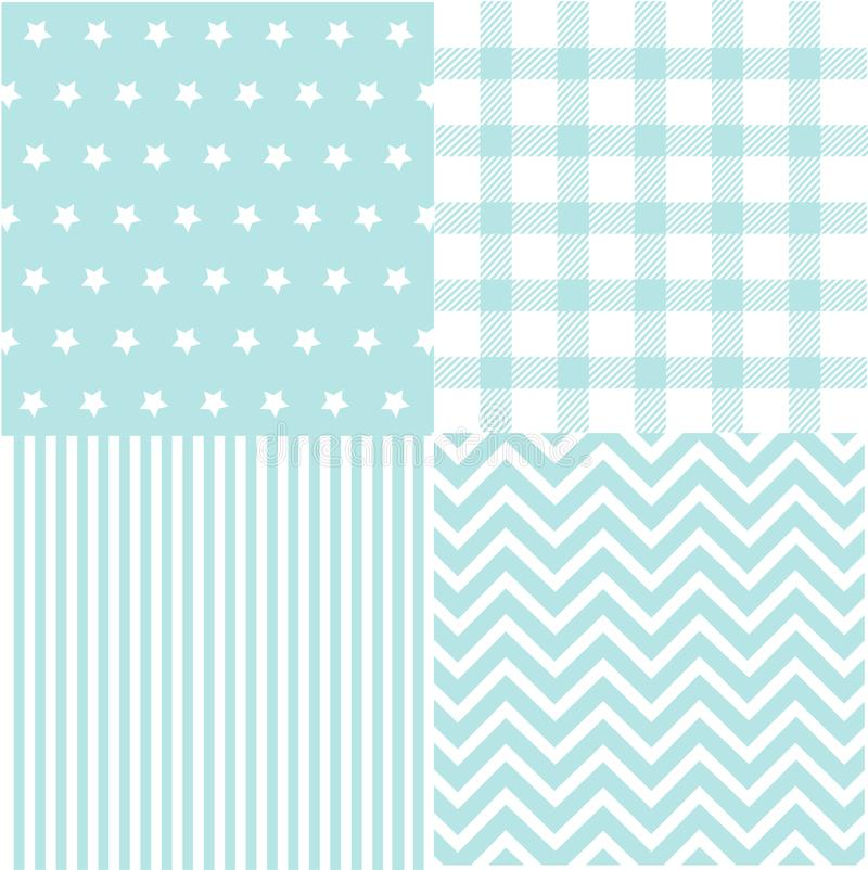 Cute set of Baby Boy seamless patterns with fabric textures royalty free illustration
