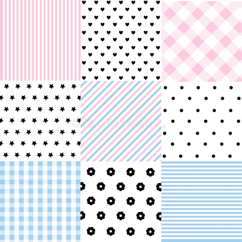 Cute set of Baby seamless patterns with fabric textures royalty free illustration