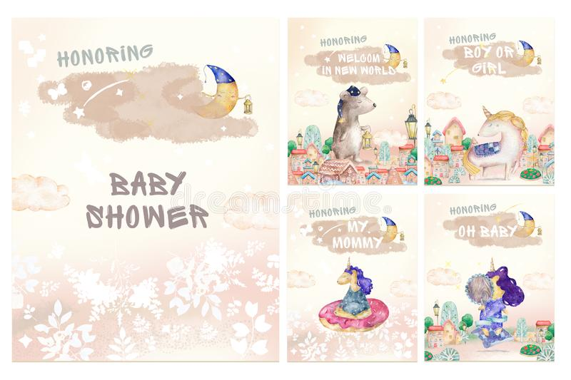 Cute set for baby shower watercolor illustration, birthday greeting cards,posters for baby room, invite, kids, honoring. Hand vector illustration