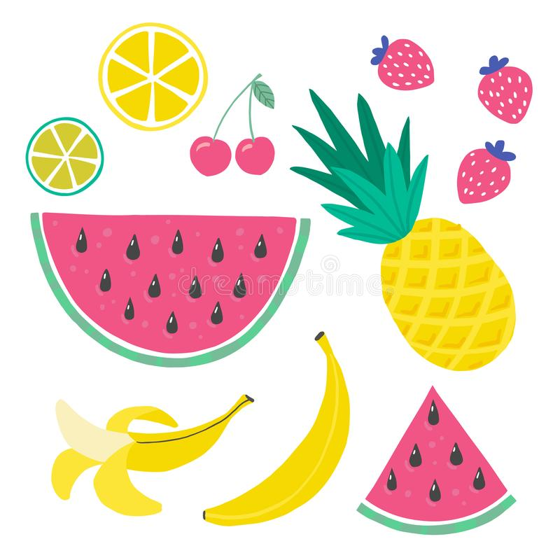 Cute Set bright colors of fruits vector collections. Hand drawing vector illustration. royalty free illustration