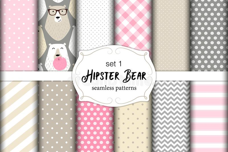 Cute set of childish seamless patterns with hipster polar bears and bubble gum royalty free illustration