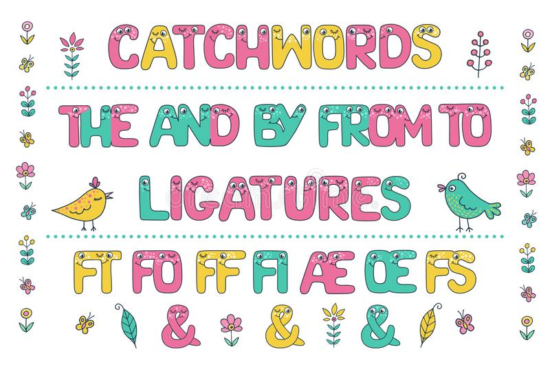 Cute set of colorful catchwords and ligatures. Cute set of colorful smiling catchwords and ligatures from Kids alphabet with eyes. Funny Font. Cartoon vector royalty free illustration
