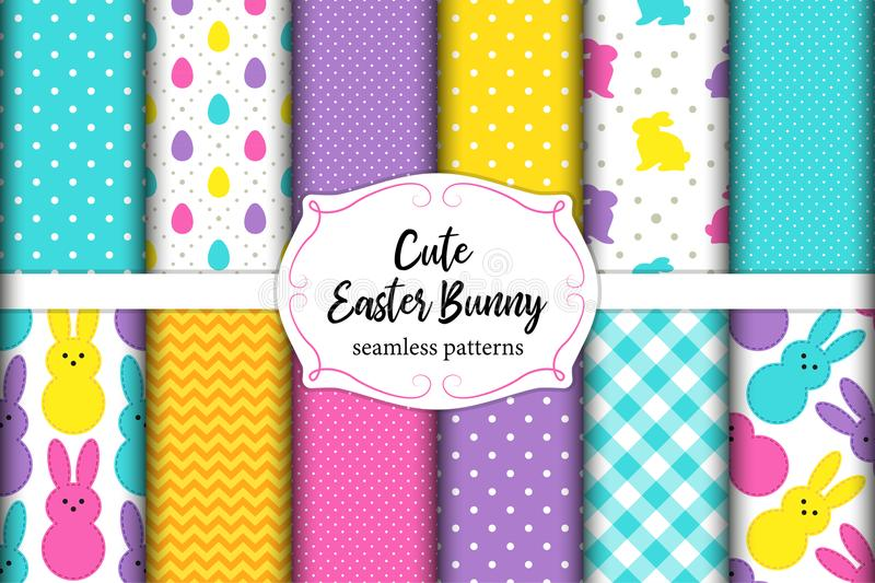 Cute set of Easter seamless patterns design with funny cartoon characters of bunnies royalty free illustration