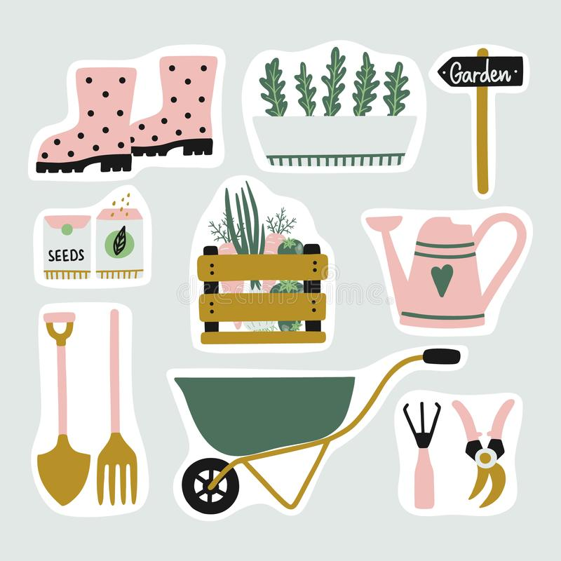 Download Cute Set Of Garden Elements Stickers. Stock Vector   Illustration  Of Plant, Elements