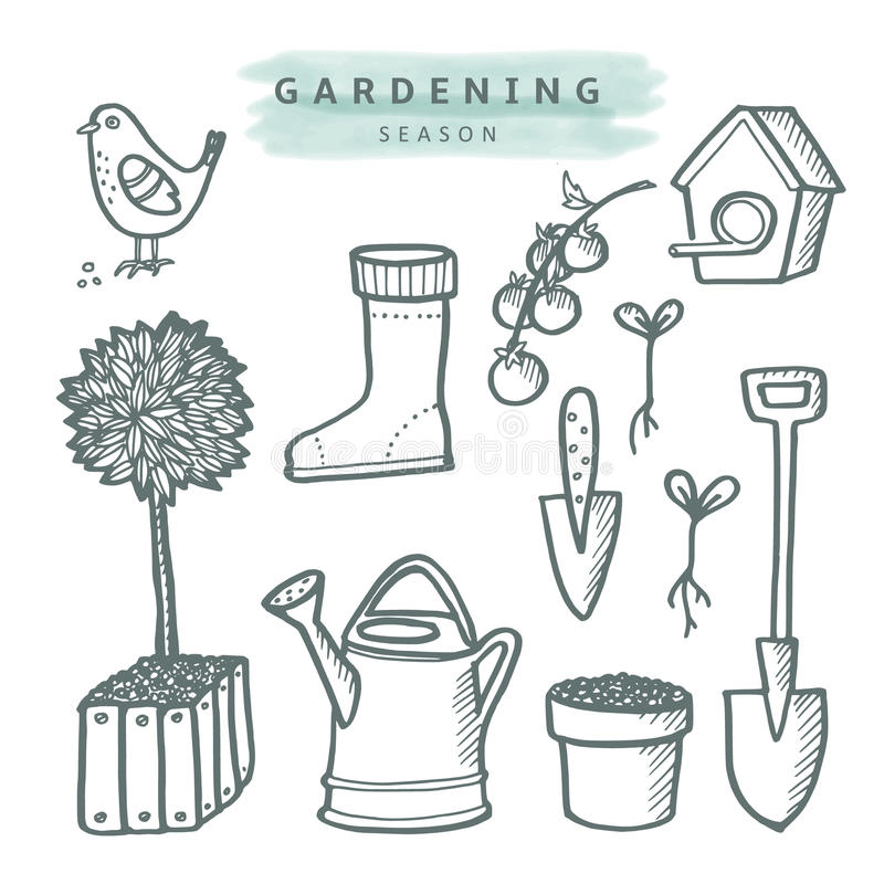Cute set of gardening doodle sketches, isolated stock illustration