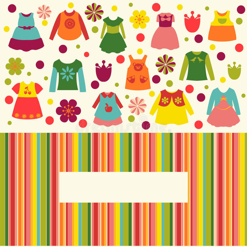 Cute Set for girl clothes collection flat icons royalty free illustration