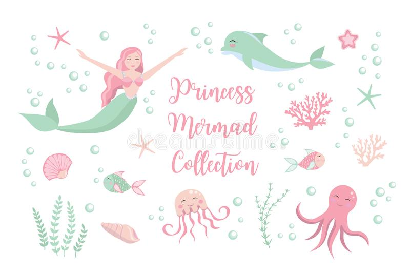 Cute set little mermaid princess and dolphin, octopus, fish, jellyfish, coral. underwater world collection. vector illustration