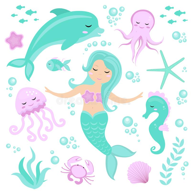 Cute set Little mermaid and underwater world. Fairytale princess mermaid and dolphin, octopus, seahorse, fish, jellyfish royalty free illustration