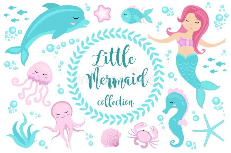 Cute set Little mermaid and underwater world. Fairytale princess mermaid and dolphin, octopus, seahorse, fish, jellyfish vector illustration