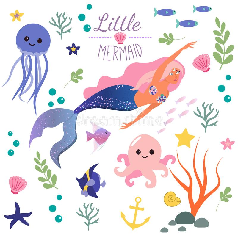 Cute set Little mermaid and underwater world. Fairytale princess mermaid and octopus, fish, jellyfish. Under water in vector illustration