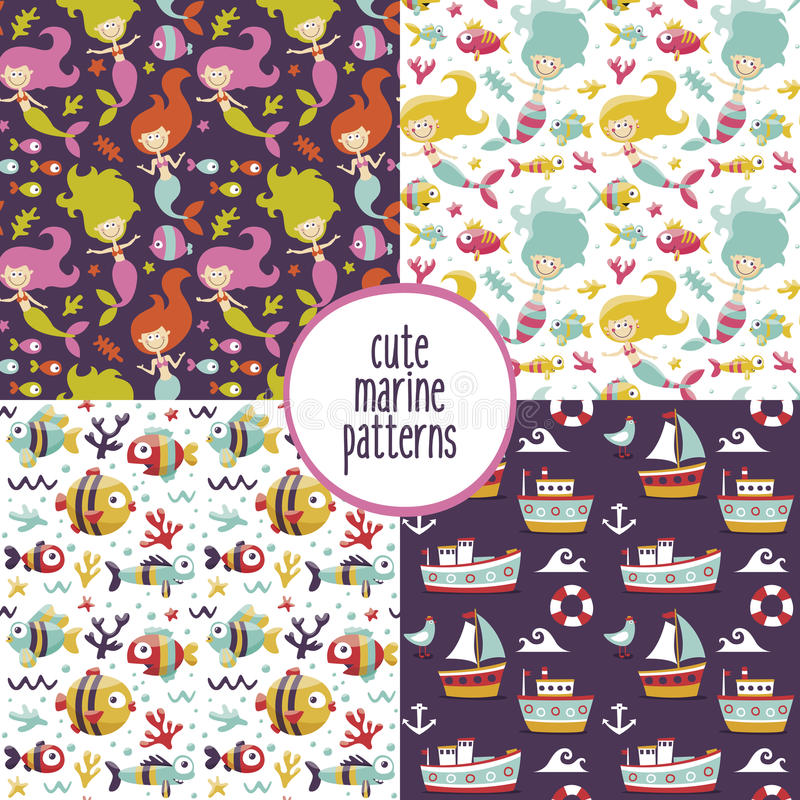 Cute set of marine patterns with mermaids, sea, ships, yachts, seaweed, Seagull, fish, waves, corals, anchor. Cute set of marine patterns with mermaids, sea royalty free illustration