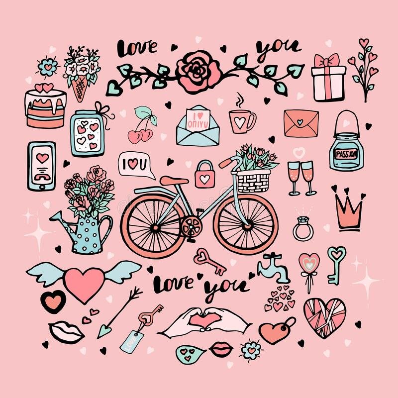 Free Cute Set Of Vector Objects For Valentine`s Day, Collection Of Stickers For Valentine`s Day, Bicycle With Tulips In A Basket, Cake Royalty Free Stock Photo - 204365535