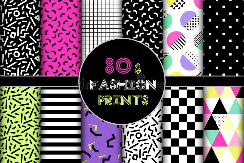 Cute set of 80`s style geometric trendy seamless patterns royalty free illustration