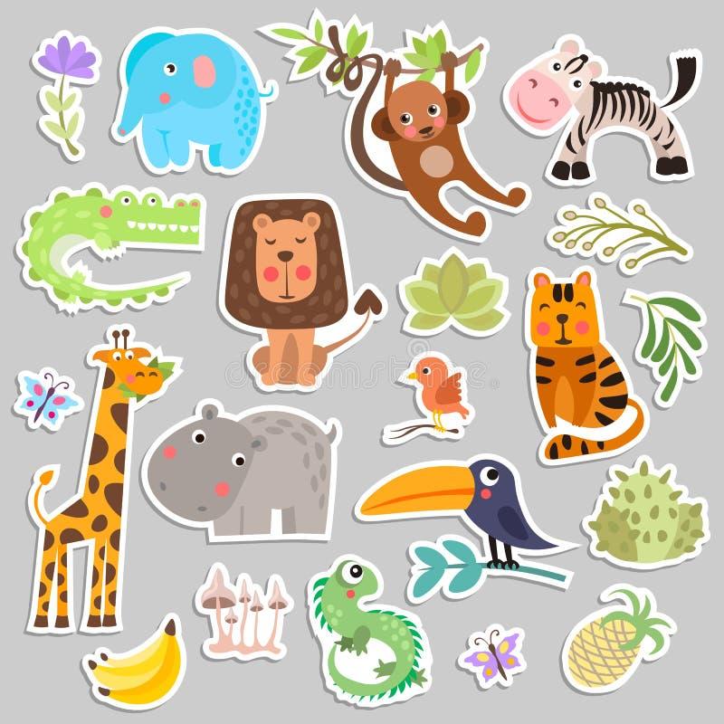 Cute set of stickers of safari animals and flowers. Savanna and safari funny cartoon sticker animals. Jungle animals stock illustration