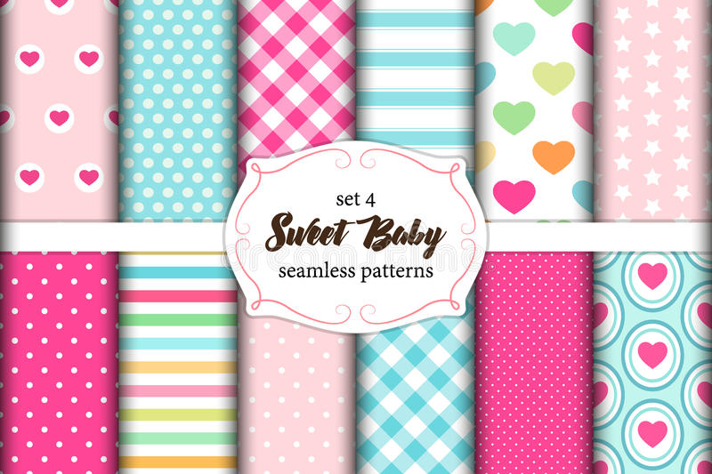 Cute set of scandinavian Sweet Baby seamless patterns with fabric textures stock illustration