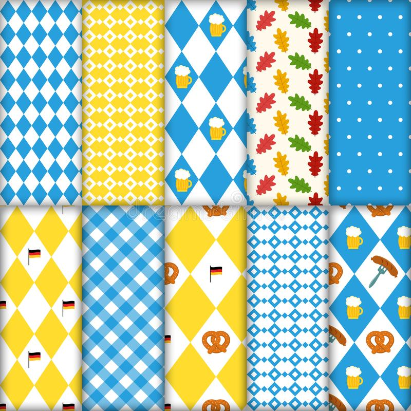 Cute set of seamless traditional Octoberfest patterns. Pretzels beer sausage lined up seamless vector illustration royalty free illustration