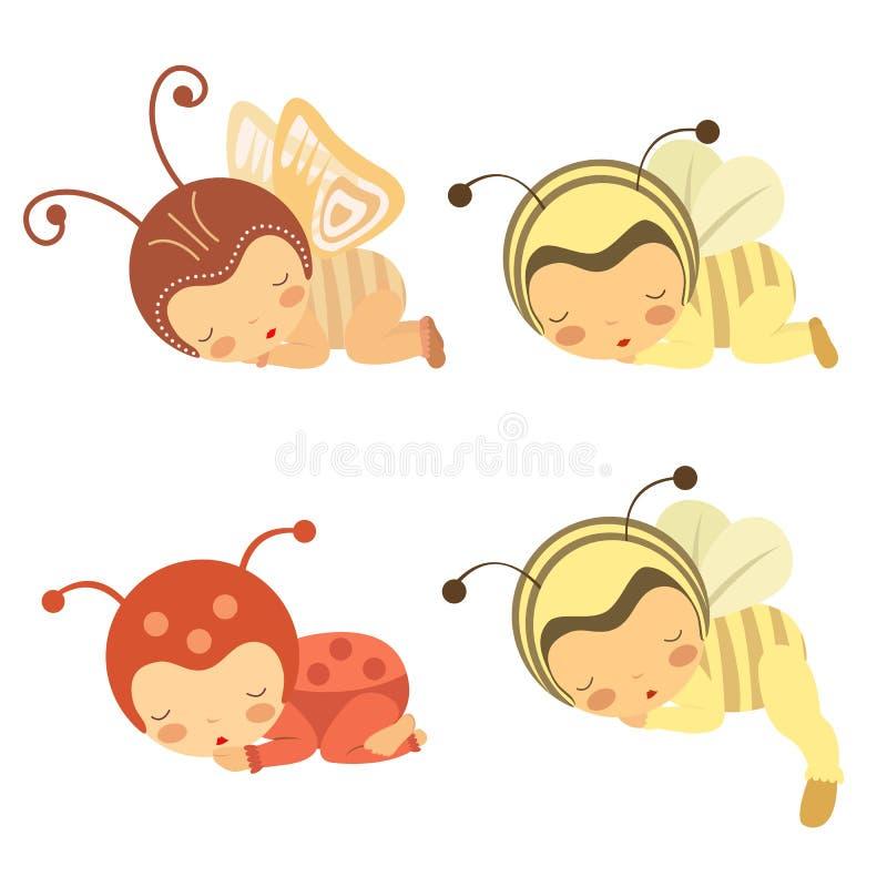 Cute set of sleeping babies in various costumes. A cute set of sleeping babies in various costumes royalty free illustration