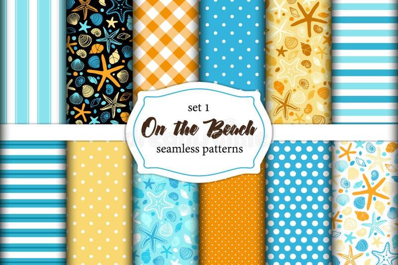 Cute set of Summer Time vintage seamless patterns stock illustration