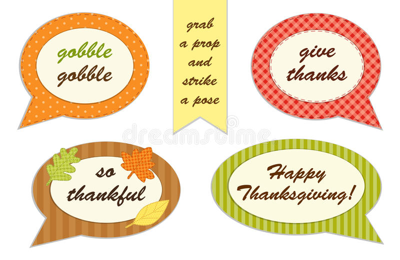 Cute set of Thanksgiving speech bubble photo booth props. ! Grab a prop and strike a pose royalty free illustration