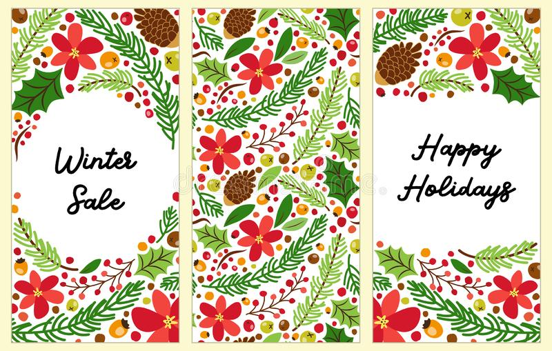 Cute set of Winter Botanical vertical banners. With hand drawn floral elements can be used for shopping sale or promo poster and frame leaflet vector illustration