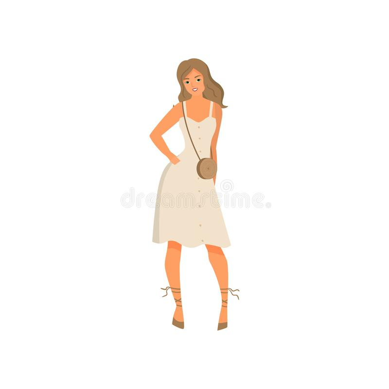 Cute sexy young woman in white elegant dress royalty free illustration