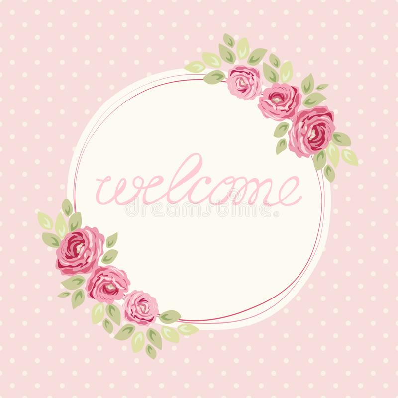 Cute shabby chic frame with roses on seamless polka dots background. For your decoration royalty free illustration