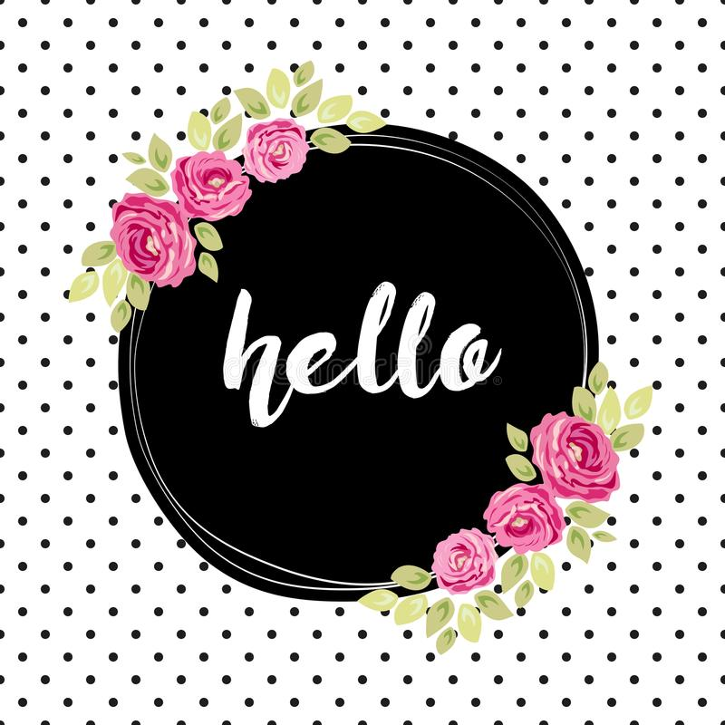 Cute shabby chic frame with roses on seamless polka dots background. For your decoration vector illustration