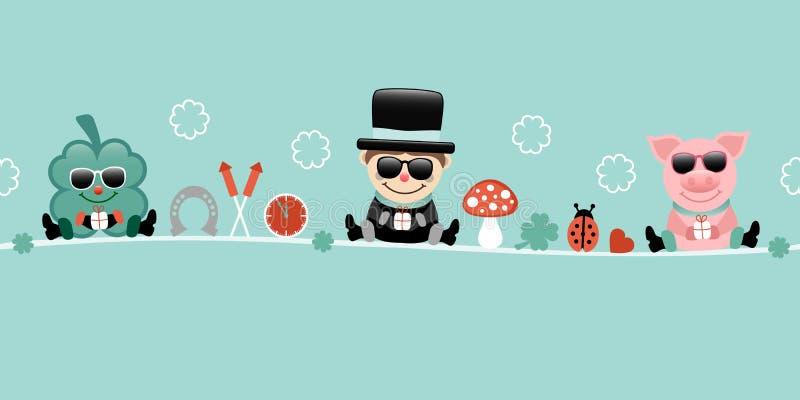 Shamrock Chimney Sweep And Pig With Sunglasses Icons New Years Eve Turquoise. Cute Shamrock Chimney Sweep And Pig With Sunglasses Icons New Years Eve Turquoise stock illustration