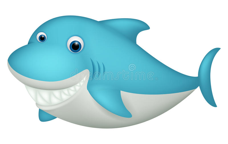 Cute shark cartoon character vector illustration