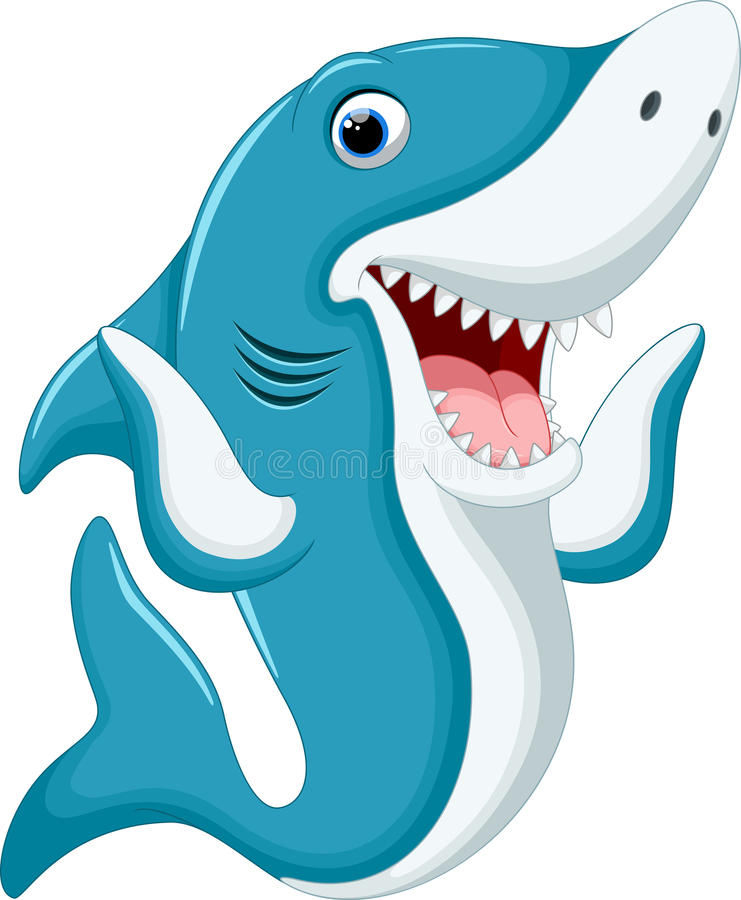 Cute shark cartoon vector illustration