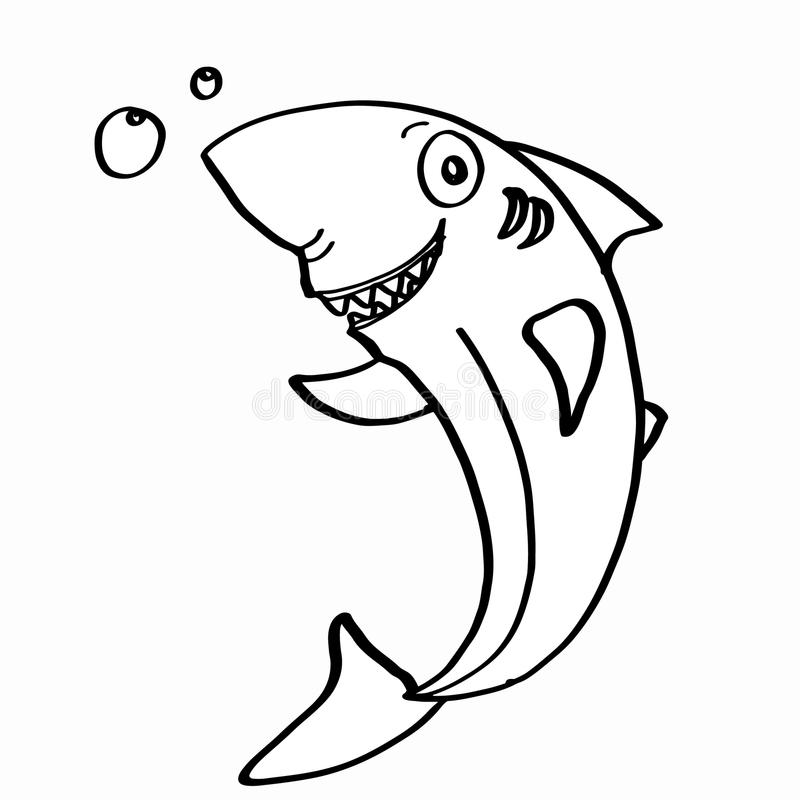 Cute shark coloring stock vector. Illustration of smile ...