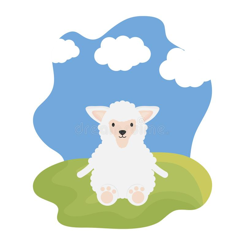 Cute sheep in the camp childish character. Vector illustration design royalty free illustration