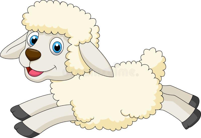 Cute sheep cartoon jumping royalty free illustration