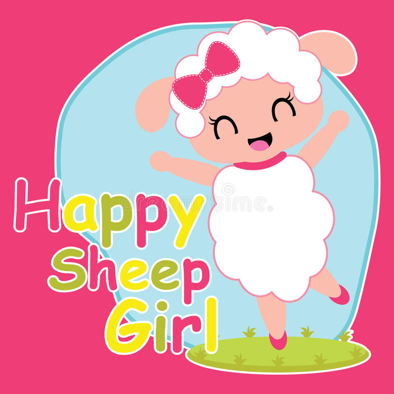 Cute sheep girl is happy cartoon illustration for kid t shirt design vector illustration