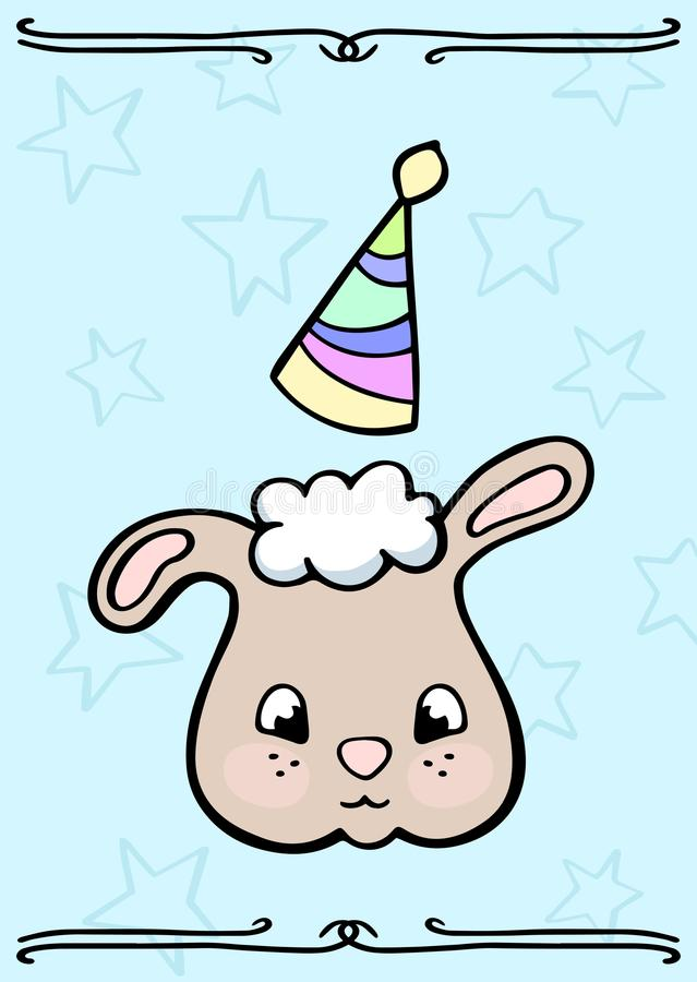 Cute sheep in party hat vector doodle card. Little sheep smiling face child birthday card. Sweet cheeky animal character stock illustration