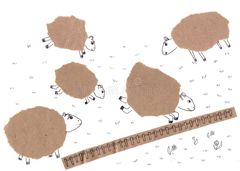 Cute sheep on pasture with fence. Craft paper collage on white background. royalty free stock photos