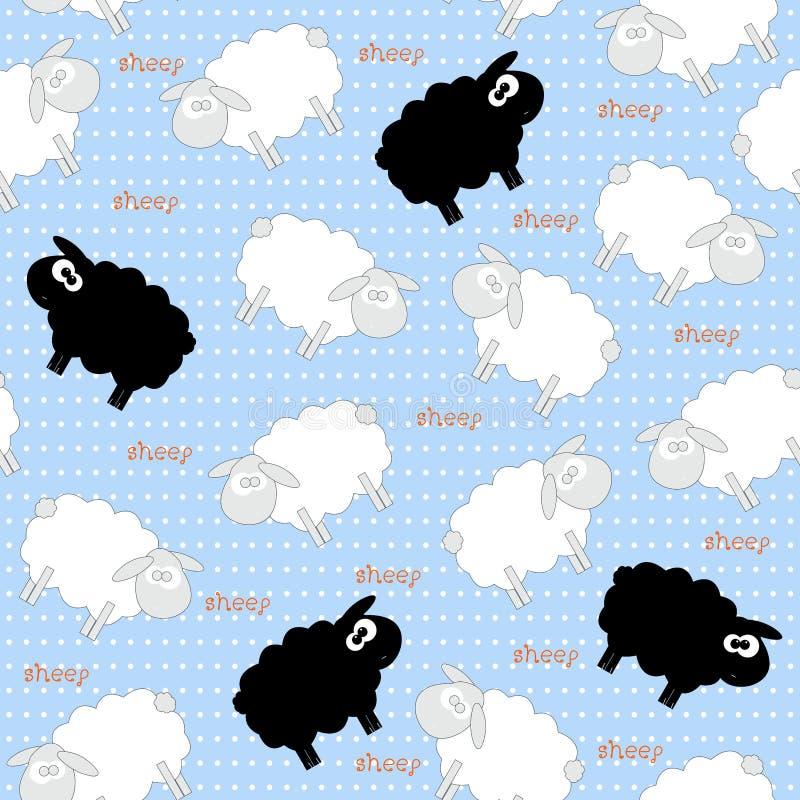 Cute Sheep Seamless Pattern on Light Blue. Background royalty free illustration