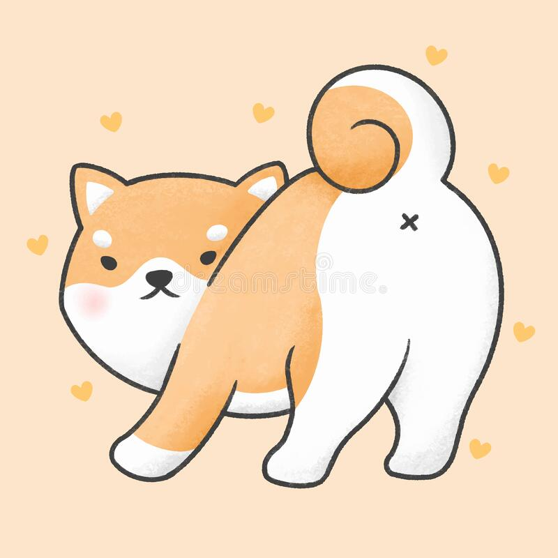 Cute Shiba Inu Dog Looking Back Cartoon Hand Drawn Style Stock Illustration Illustration Of Character Cute 173761785