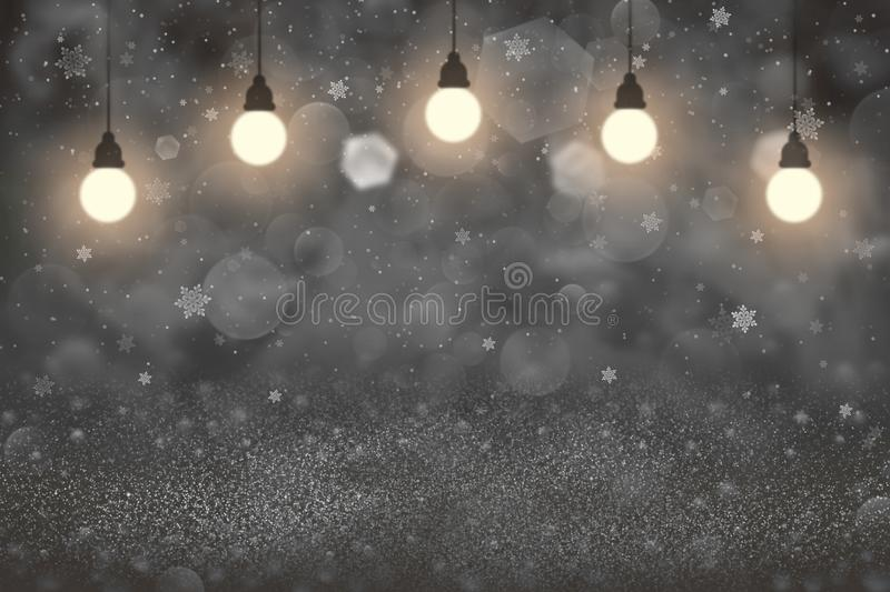 Cute shining glitter lights defocused bokeh abstract background with light bulbs and falling snow flakes fly, celebratory mockup t. Nice shining abstract vector illustration