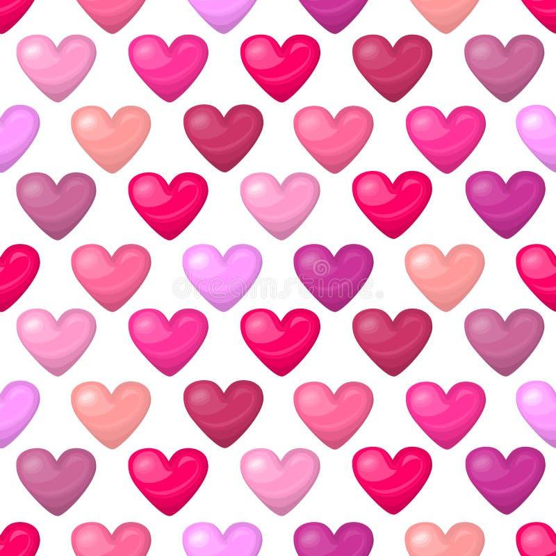 Cute shiny seamless heart pattern on white background. Vector illustration for valentine design. Chic sweet feminine background invitation card. Lovely royalty free illustration