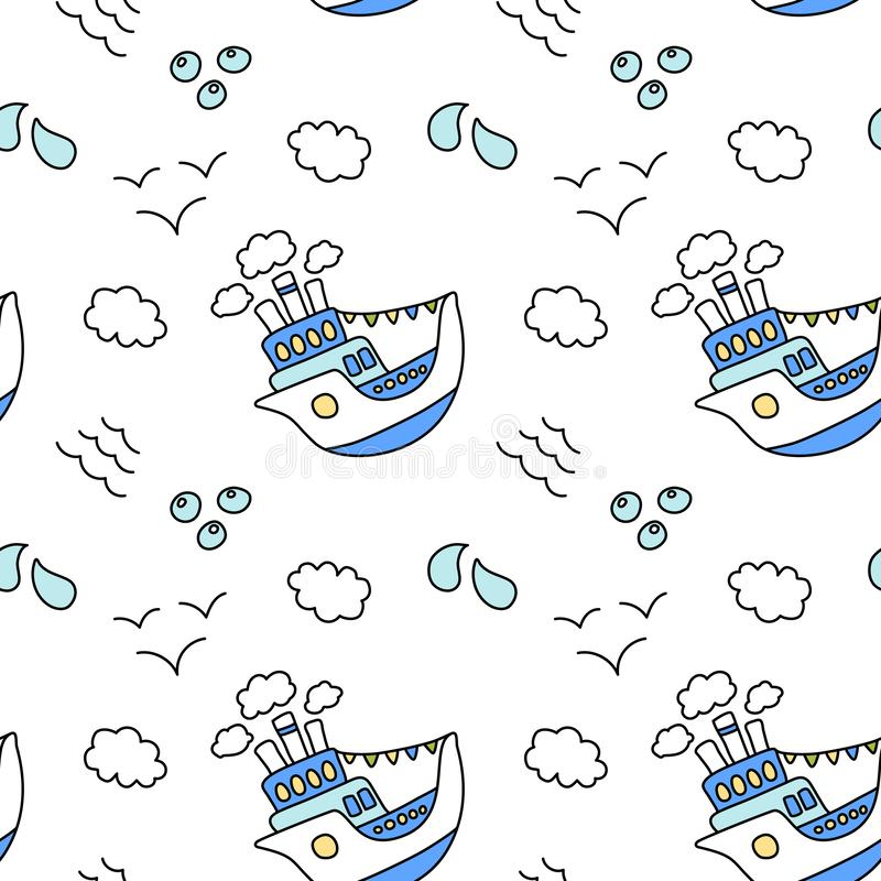 Cute ship and cloud seamless pattern on white background. Blue and white nautical print. Kid birthday wrapping paper royalty free stock photos