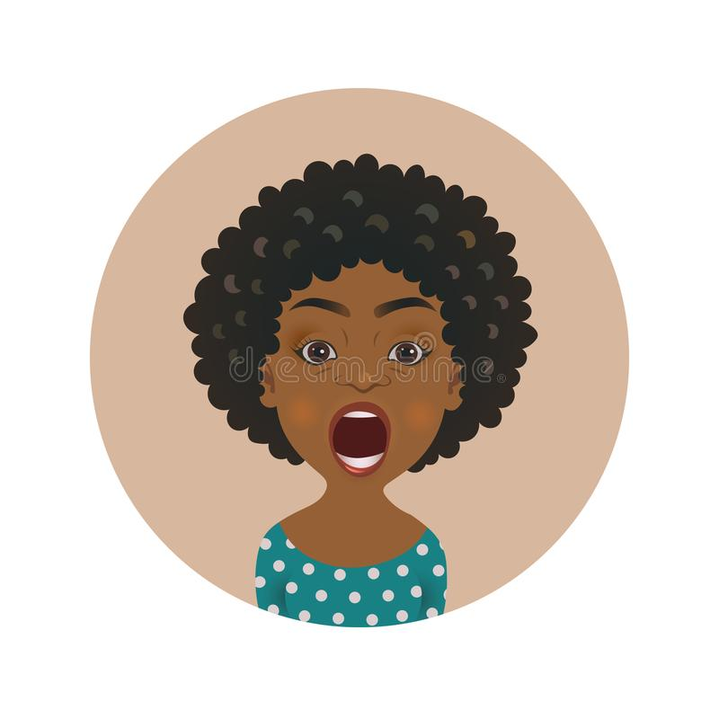 Cute shocked Afro American woman avatar. Scared African girl emoji. Frightened dark-skinned person facial expression. stock illustration